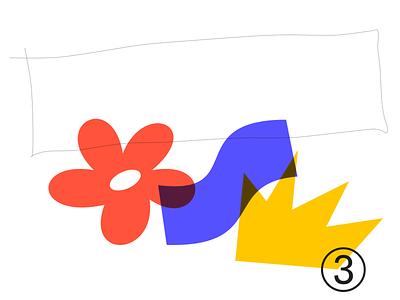 Random shape 003E flower illustration experiment design sketch adobe illustrator overlay shape