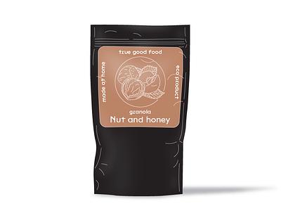 Nut and Honey granola food package honey nut illustration