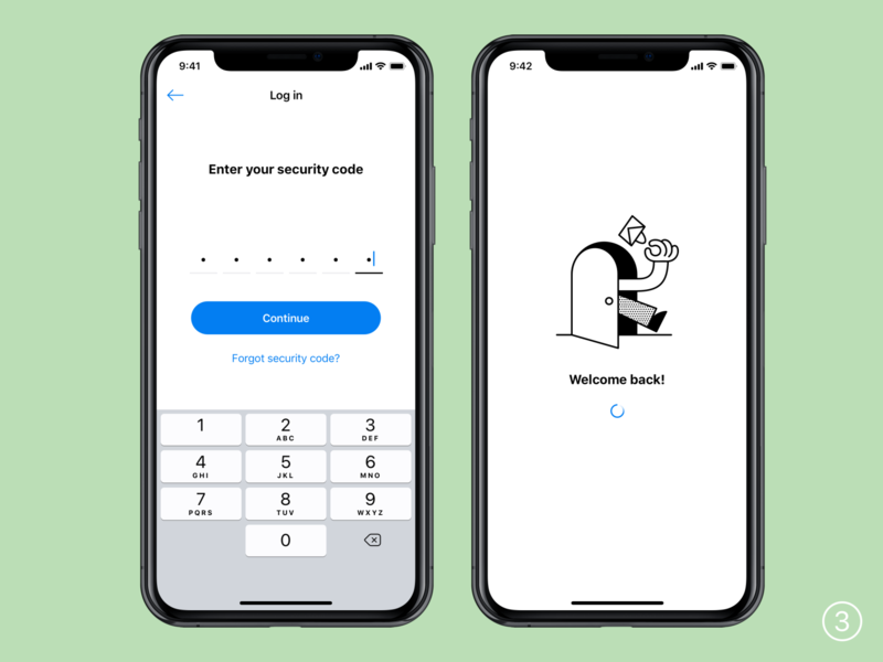 Log in banking app code pin sign in icons ios ui ux sketch illustrator cc illustration interface mobile app log in