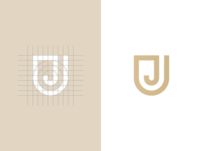Letter J + shield mark letter j monogram j construction grid golden brand logomark shield logo design mark logo