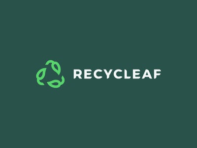 Recycle + leaf logo icon symbol sign mark environment logo design letter eco leaf recycle brand logo