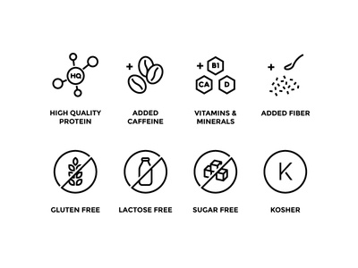 Icons for Muscle Milk supplements illustrator vector nutrition style set outline food sport black line icon