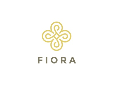 Fiora - abstract line logo concept gold elite icon symbol sign mark design brand logo line oriental flower