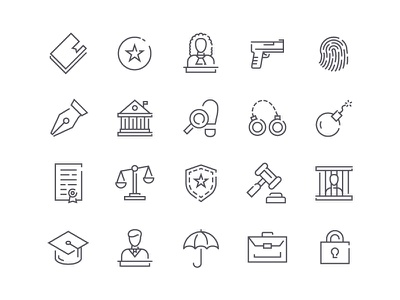 Law Icons symbol sign icon stroke line outline set style vector legal justice law