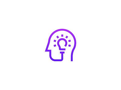 Head/Bulb Logo Concept purple lightbulb brain creative smart idea icon line logo concept bulb head