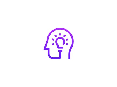 Head/Bulb Logo Concept purple lightbulb brain creative smart idea icon line logo concept bulb head