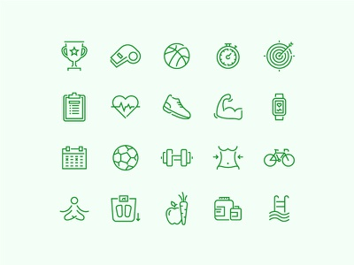 Fitness and Sport Icons icon thin line outline design minimal green sport fitness health