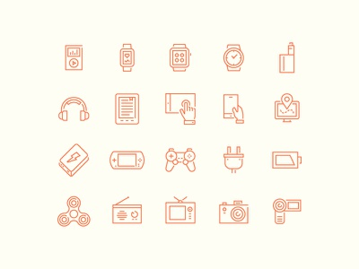 Modern Devices Icons red electronic technology device icon thin line outline design set minimal