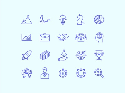 Business Icons icon thin line outline design set minimal business finance money startup