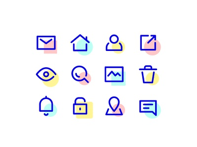 UI icons clean simple line icons icons spot icons user blue spot interface ui minimal set line icon