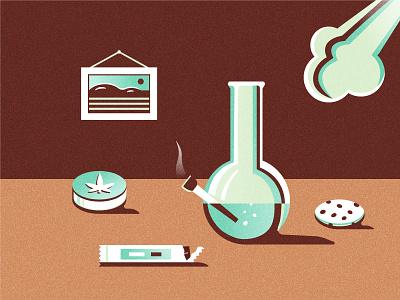 Bong, smoke & sweets legalize 420 shadows cookie illustration retro still life sweets smoke marihuana cannabis pot weed bong