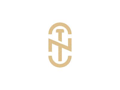 CNT logo emblem mark gold monogram letter t n logo nt