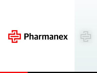 Pharmanex Logo (Pharmacy) pharmacy plus x cross logo medical mark emblem symbol branding grid construction