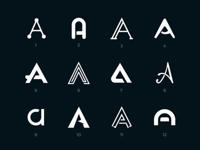 Letter A logos set