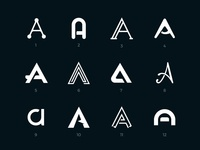 Letter A logos set collection aa letter white sign mark black set logo a letter a