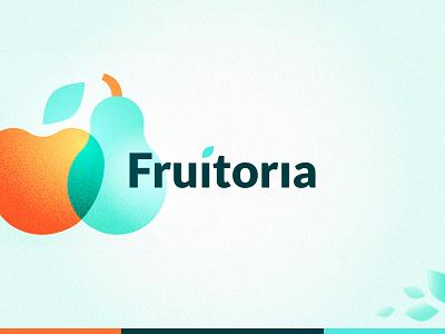 Fruitoria Logo typogaphy branding brand apple leaf wordmark logotype logo fruit fruits