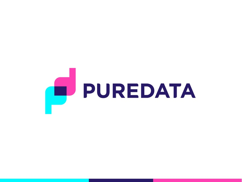 PureData logo [WIP] cyan magneta overlay logotype abstract d p dp pd clean letter modern icon sign branding brand mark design logo data