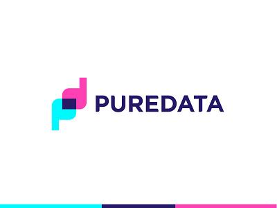 PureData logo [WIP] cyan magneta overlay logotype abstract d p dp pd clean letter modern icon sign branding brand mark design logo data