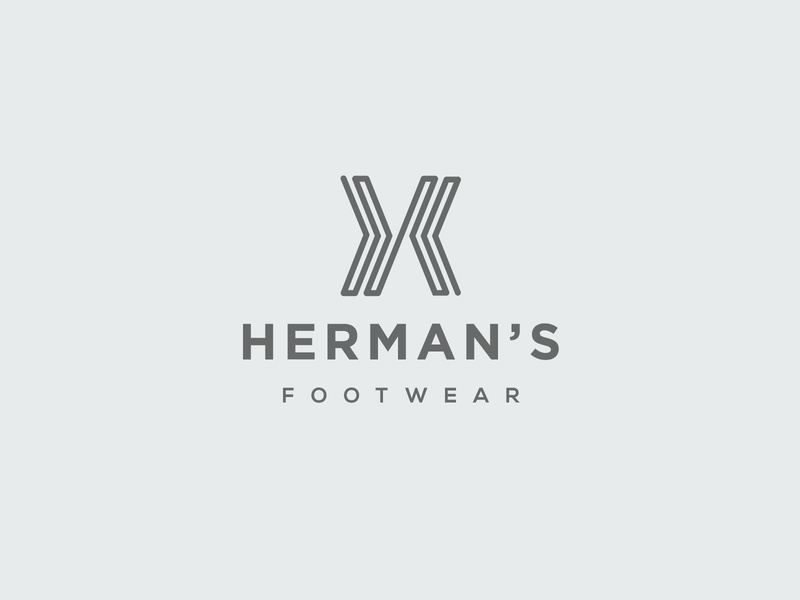 Herman's Footwear Logo minimal gray shoe footwear letter h h letter logotype abstract wordmark clean modern icon sign branding brand mark design logo