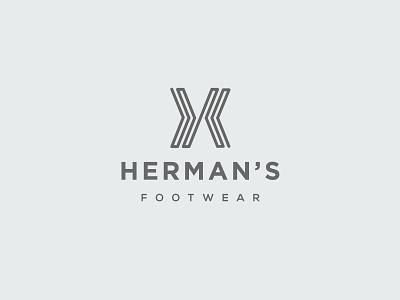 Herman's Footwear Logo minimal gray shoe footwear letter h h letter logotype abstract wordmark clean modern icon sign branding brand mark design logo