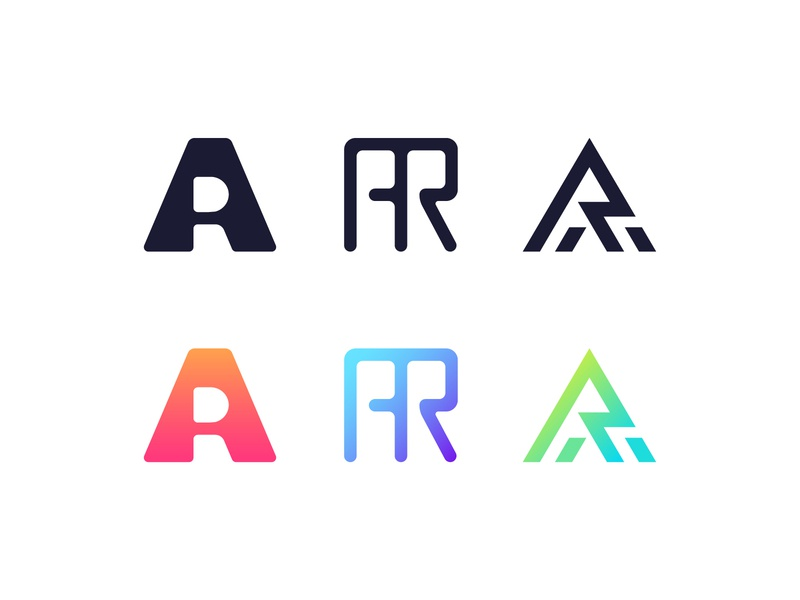 AR Logos monogram bold r a ra ar gradient timeless line simple modern set collection mark logo black letter
