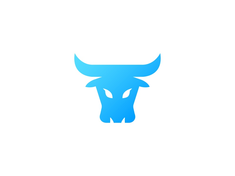 Logo for financial website [Final] simple market stock gradient blue bull minimal clean modern icon sign branding brand mark design logo