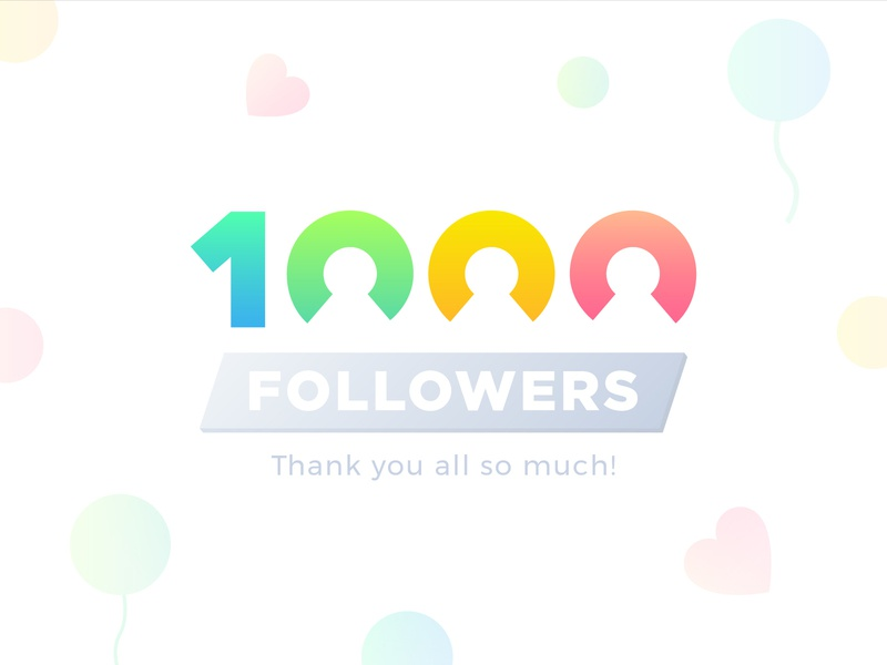 1000 Followers on Dribbble celebration number digit logo dribble dribbble follow thousand 1000 1k followers