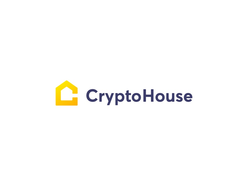 CryptoHouse logo concept gradient yellow crypto currency cryptocurrency crypto home house c letter simple minimal clean modern icon sign branding brand mark design logo