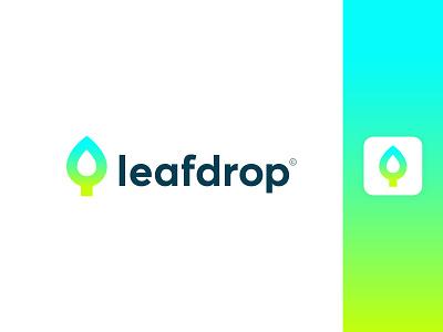 Leaf + Drop Logo Concept gradient app colorful concept nature water leaf drop wordmark simple minimal clean modern icon sign branding brand mark design logo