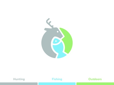 Hunting - Fishing - Outdoors Shop Logo [Update] earth ecology environment circle outdoors nature fishing fish deer hunting concept simple minimal clean icon sign branding brand design logo
