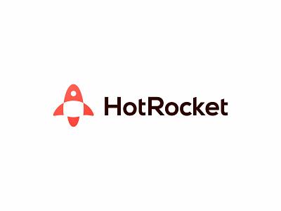 HotRocket logo update start up hot red startup rocket logotype wordmark concept simple minimal clean modern icon sign branding brand mark design logo