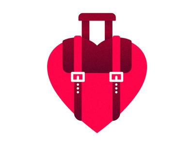 We Love Travel backpack heart love graphic travel design logo
