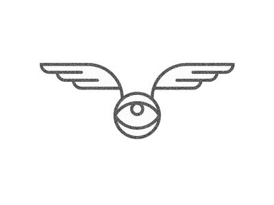 [eyewing] black line fly wing eye design logo