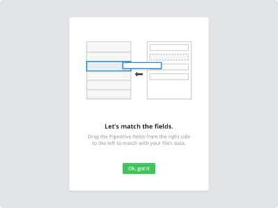 Drag and Drop - Import data intro onboarding illustration drop drag import pipedrive