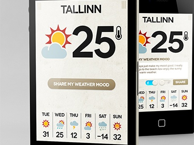 Weather app mockup share
