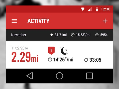 Android L Nike Running Activity Concept android l nike running concept android ui design