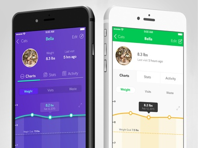 A or B ui design visual design ios mobile data visualization ui ux ia line graph