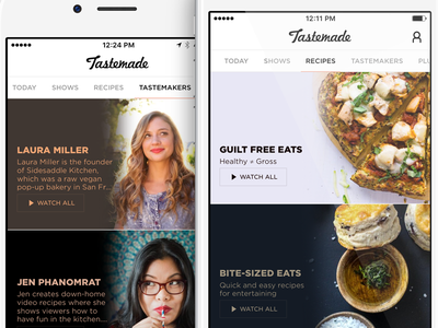 Tastemade iOS 2.0 ui colors colors video ui food ui food design visual design ui design ios