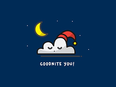 Goodnite illustration flat simple goodnight goodnite sleep outline icon night nite cloud