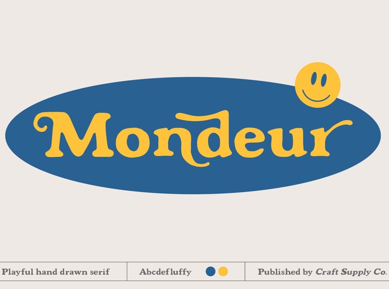 Mondeur - Playful Hand Drawn Serif europe pastel font creative illustration vintage retro logo lettering typeface