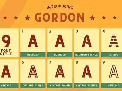CS Gordon Font Family sans sans serif vintage retro elegant logo brush creative lettering typeface font