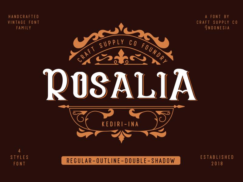 CS Rosalia - Vintage Font Family pastel europe clean vintage sans serif retro logo sans creative elegant lettering brush typeface font typography branding vector ui design illustration
