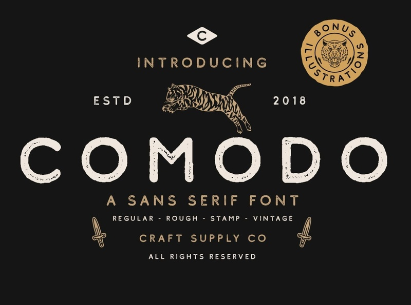 Comodo Font Family + Illustrations creative vintage vector sans serif logo design illustration font typeface type typography