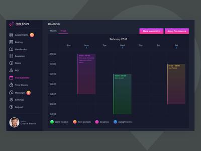 Calender UI - Ride Share App