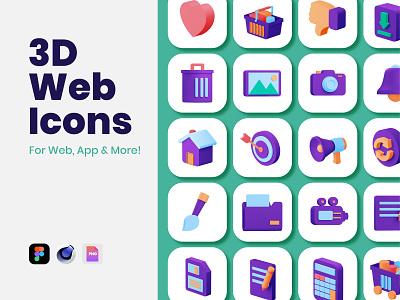 3D Web Icons flat 3d design animation web app ux branding ui design icons illustration
