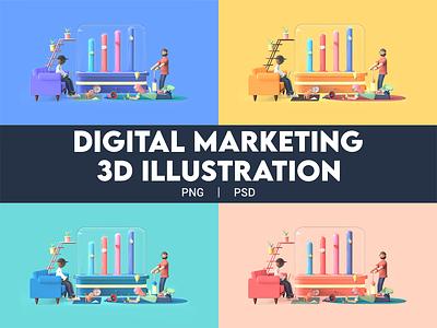 3D Digital Marketing Illustration digital marketing agency digital marketing png psd 2020 design 2020 trend website landing page ux animation 3d art 3d 3d animation design branding ui illustration