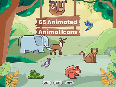 65 Animated Animal Icons icon ux ui animal icons animal art animals illustrated animals mp4 gif animated building design icons illustration