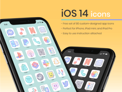 80 Free iOS 14 Icons free freebbble freebie icon set icons iphone apple ios14 ios