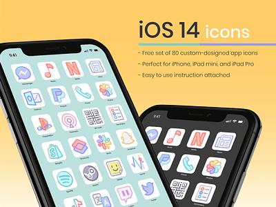 80 Free iOS 14 Icons free freebbble freebie icon set icons iphone apple ios14 ios