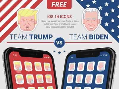 Free iOS14 Icon Set – Trump vs Biden us election joe biden donald trump iphone ios14 ios iconset icons freebie freebbble free apple